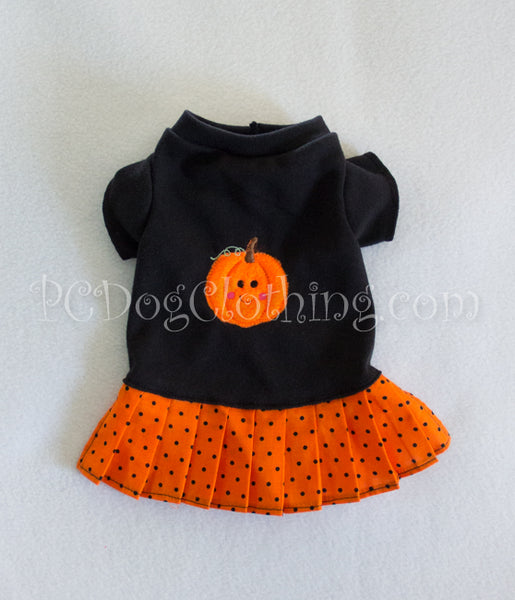 Pumpkin Face Black T Shirt Dress