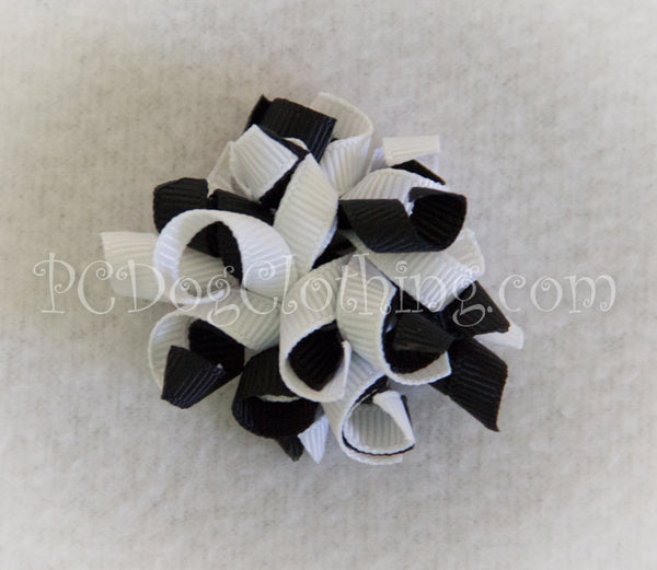 Black and White Curly Hair Bow SCB7