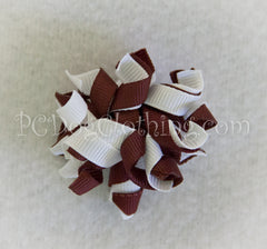 Brown and White Curly Hair Bow SCB8