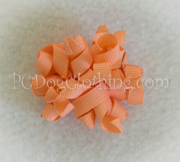 Peach Curly Hair Bow SCB9