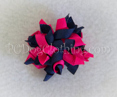 Navy and Pink Curly Hair Bow SCB10