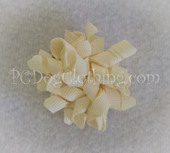 Cream Curly Hair Bow SCB3