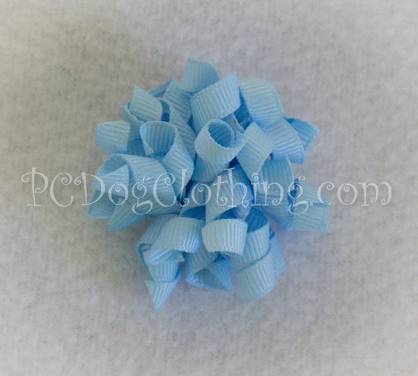 Light Blue Curly Hair Bow SCB11