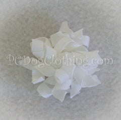 White Curly Hair Bow SCB16
