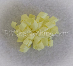 Light Yellow Curly Hair Bow SCB19