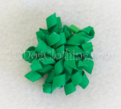 Bright Green Curly Hair Bow SCB20