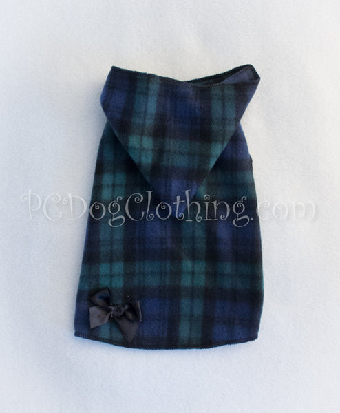 Navy and Green Plaid Hoodie Dress