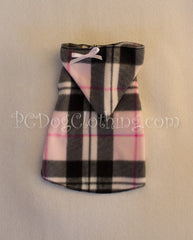 Pink and Black Plaid Sleeveless Hoodie Dress