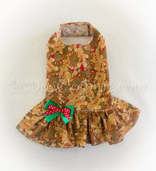 Gingerbread Christmas Drop Waist Dress