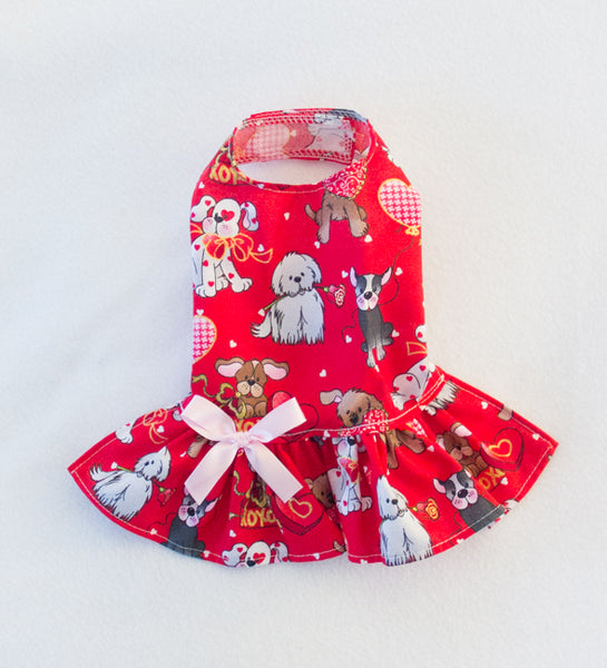 Red Drop Waist Puppy Love Valentine's Dress (Clearance)