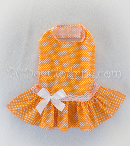 Summer Orange Polka Dot Dress