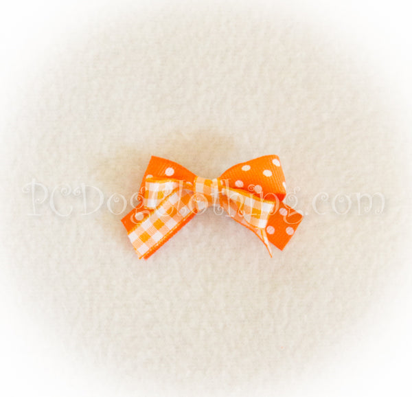 Orange Gingham and Dot Hair Bow