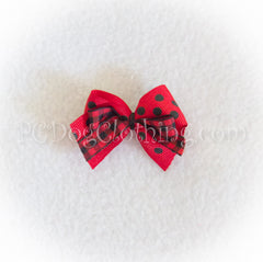 Red Gingham and Dot Hair Bow