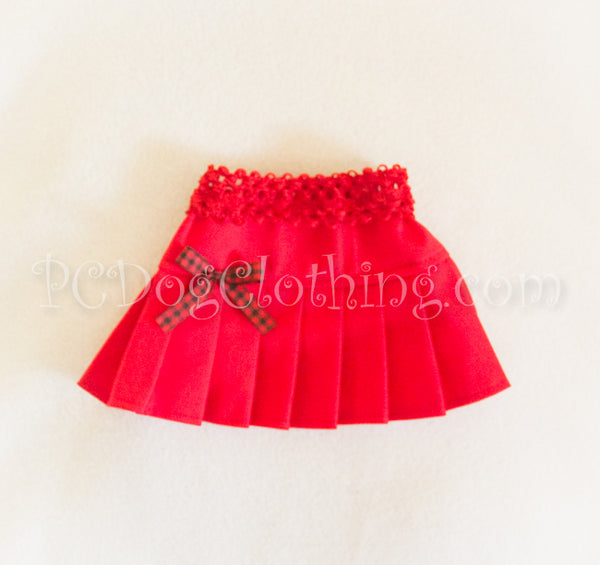 Red and Gingham Twill Skirt