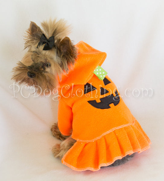 Pumpkin Pleated Hoodie Dress