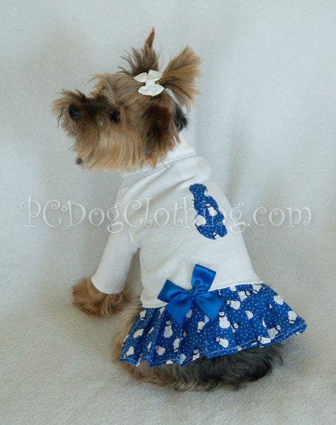 Blue Snowman Turtleneck Shirt Dress