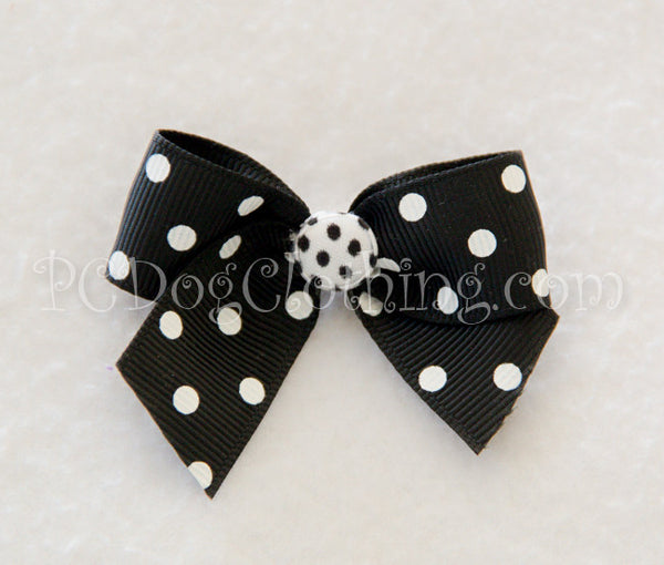 Black and White Dot Hair Bow