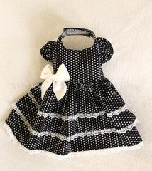 Black and White Dot Party Dress (Clearance)