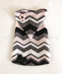 Pink and Black Chevron Hoodie Dress (Clearance)