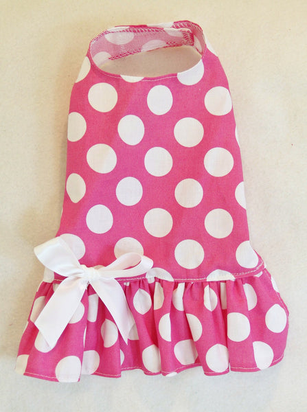 Bright Pink & White Polka Dot Dress