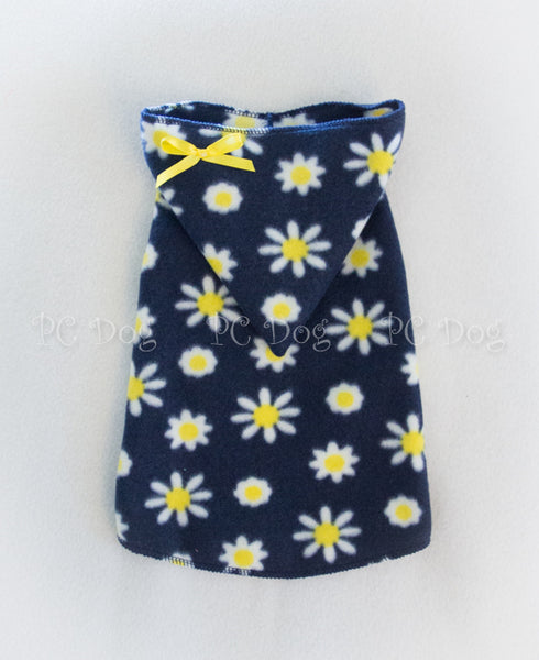 Navy and Yellow Daisy Hoodie Dress