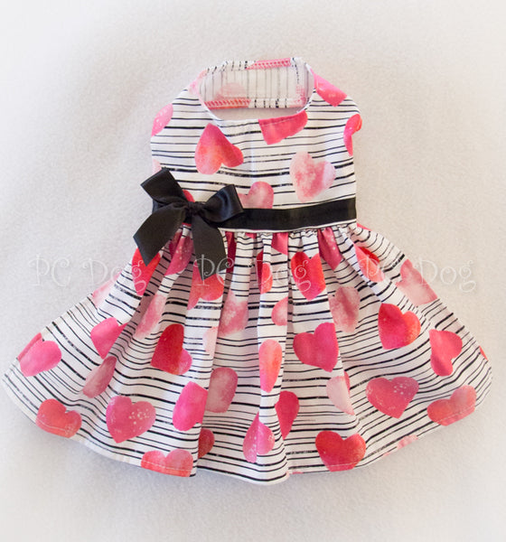 Hearts and Black Stripes Dress