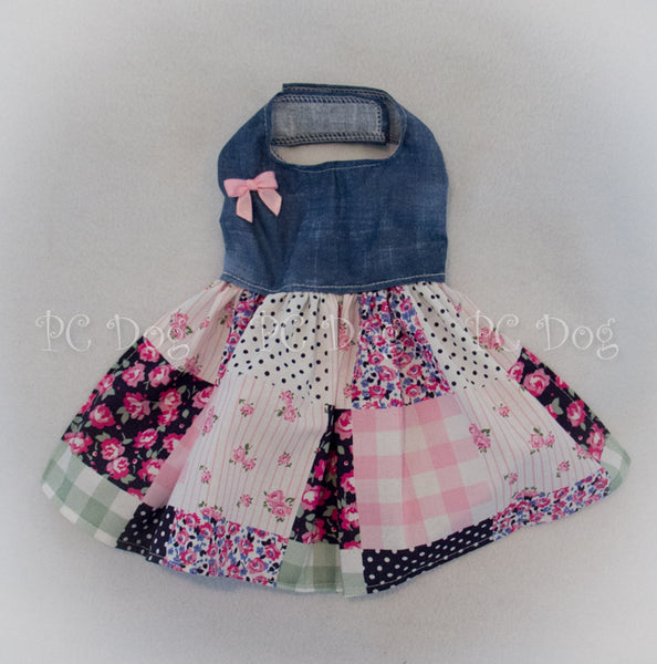 Denim and Pink Patchwork Dress