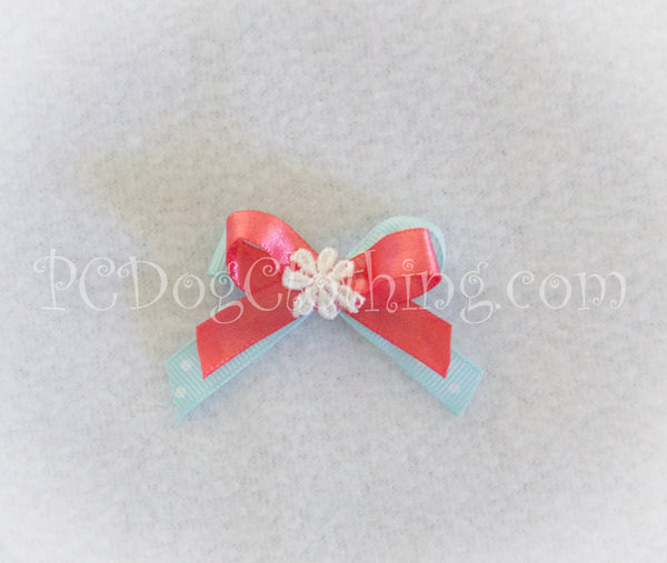 Pretty Mint and Coral Hair Bow