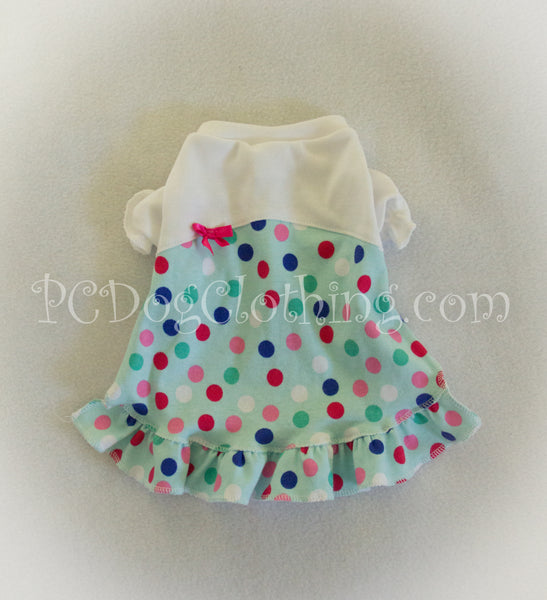 Pretty Polka Dots Nightgown Short Sleeves