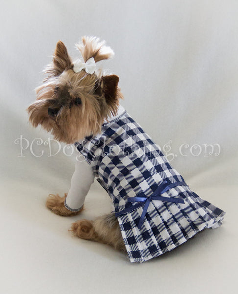 Navy and White Checked Dress