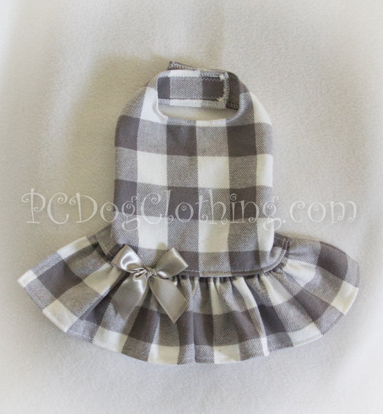 Soft Gray Checked Dress (Clearance)