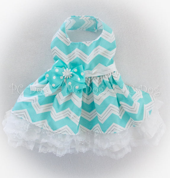 Spring Aqua Chevron and Lace Dress