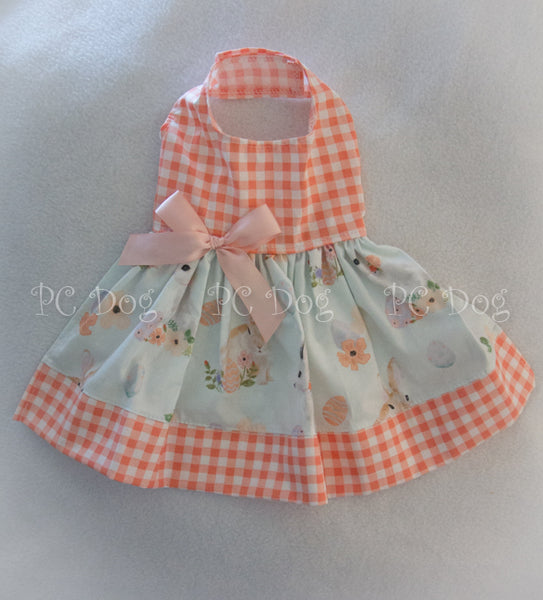 Coral Gingham and Bunnies Dress