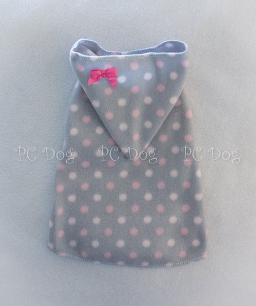 Pink and Gray Dots Hoodie Dress