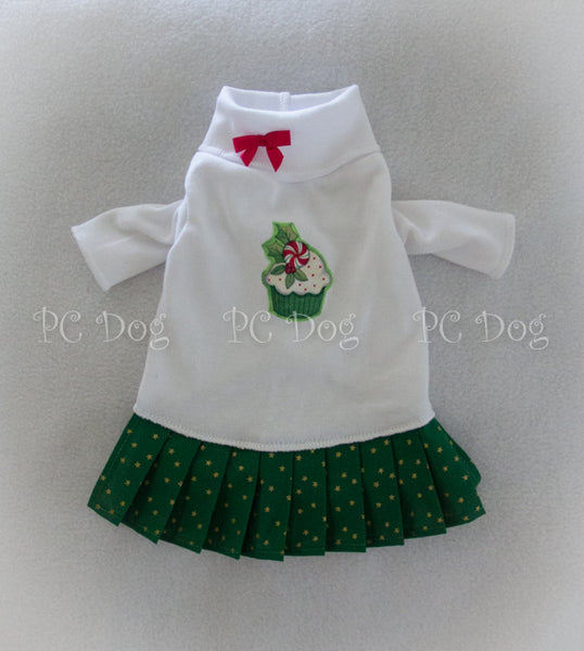 Christmas Green Cupcake Turtleneck Shirt Dress