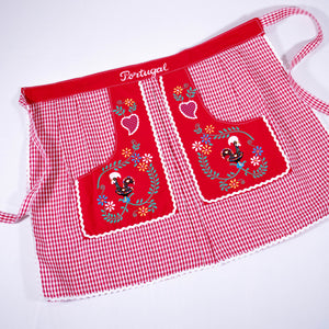 Traditional Colorful Rooster _ Waist Apron - Red