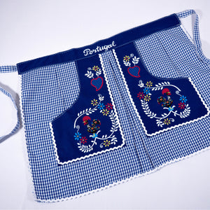 Traditional Colorful Rooster _ Waist Apron - Blue