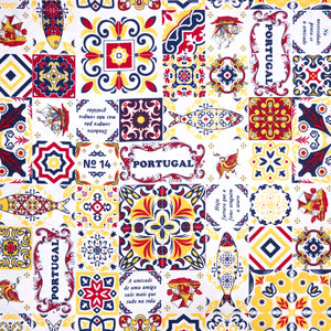 Casa Portuguesa Navy and Red  _ Fabric by Yard