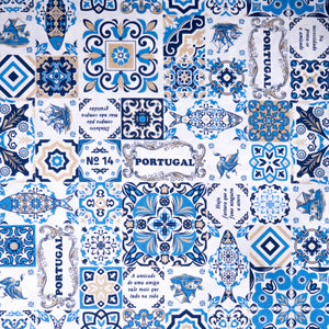 Casa Portuguesa Blue and Taupe  _ Fabric by Yard