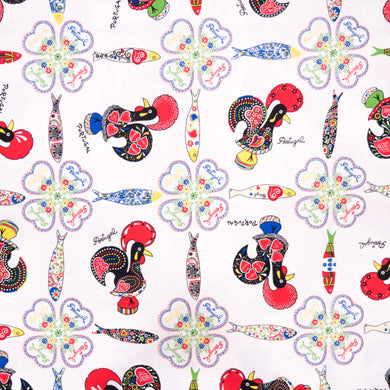 Rooster and Sardines  _ Fabric by Yard