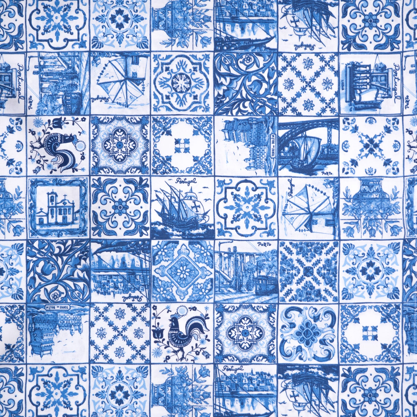 Azul Tiles _ Fabric by Yard
