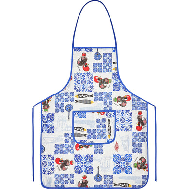 Roosters and Azul Tiles  _ Apron