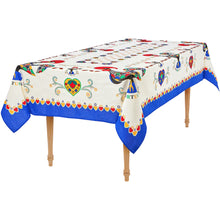 Load image into Gallery viewer, Barcelos Rooster _ Colorful Boarder Table Cloth Blue