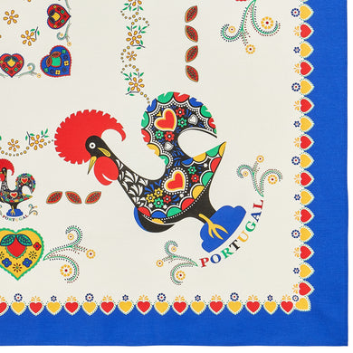 Barcelos Rooster _ Colorful Border Table Cloth Blue