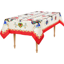 Load image into Gallery viewer, Barcelos Rooster _ Colorful Boarder Table Cloth Red