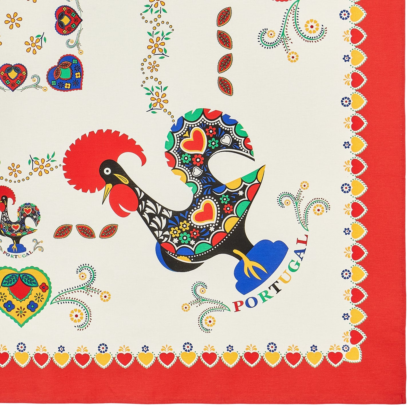 Barcelos Rooster _ Colorful Boarder Table Cloth Red