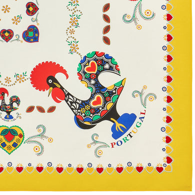 Barcelos Rooster _ Colorful Boarder Table Cloth Yellow