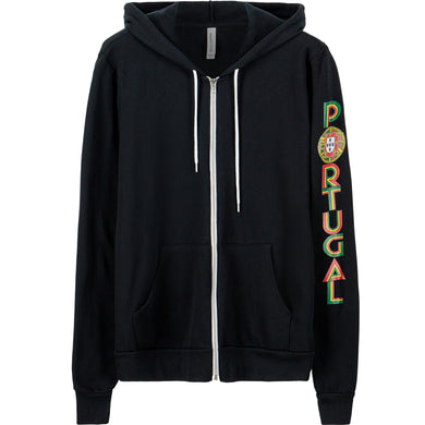 Old School Portugal _ Zip Hoodie Black