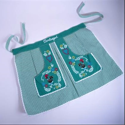 Traditional Colorful Rooster _ Waist Apron - Green