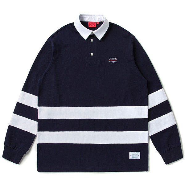 CRITIC CUT AND SEWN RUGBY SHIRT (NAVY) CTOSAPL01UN0